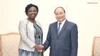 Thủ tướng Nguyễn Xuân Phúc tiếp bà Victoria Kwakwa, Phó Chủ tịch Ngân hàng Thế giới phụ trách khu vực Đông Á-Thái Bình Dương - Ảnh: VGP