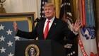 Tổng thống Trump phát biểutại Nhà Trắng. Ảnh:AFP.