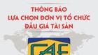 Thông báo lựa chọn tổ chức bán đấu giá quyền sử dụng đất tại thành phố Hà Tĩnh, tỉnh Hà Tĩnh