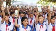 Chương trình sữa học đường trên địa bàn tỉnh Nghệ An sử dụng kinh phí DN hỗ trợ và kinh phí phụ huynh học sinh đóng góp. Ảnh: Quốc An