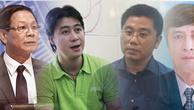 Từ trái qua phải: Bị can Phan Văn Vĩnh, Phan Sào Nam, Nguyễn Văn Dương, Nguyễn Thanh Hóa.