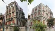 """Hiện trạng ngôi biệt thự 5 tầng của gia đình ông Nguyễn Thanh Hóa trước (bên trái) và sau 8 tháng nhận """"tự tháo dỡ""""."""