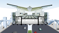 Thiết kế phần mái các nhà ga trên cao tuyến Metro Nhổn-Ga Hà Nội có hình chữ V có độ dốc lớn, được làm bằng vật liệu tôn mạ kẽm và tấm ốp nhôm. Ảnh: MRB