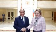 Thủ tướng Chính phủ Nguyễn Xuân Phúc và Chủ tịch Hội đồng Liên bang Nga V. Matviyenko. Ảnh: VGP