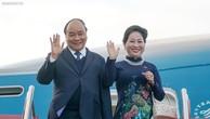 Thủ tướng Nguyễn Xuân Phúc cùng Phu nhân đến sân bay Gardermoen, Oslo, bắt đầu chuyến thăm chính thức Vương quốc Na Uy. Ảnh: VGP
