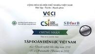 """EVN nhận danh hiệu """"Doanh nghiệp bền vững tại Việt Nam"""""""
