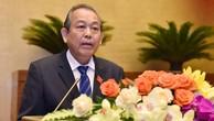 Phó Thủ tướng Thường trực Trương Hòa Bình thay mặt Chính phủ trình bày báo cáo trước Quốc hội vào ngày 20/5/2019. Ảnh: Quang Khánh