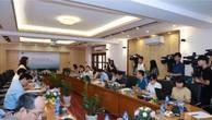 Toàn cảnh họp báo Dự án Luật Chứng khoán (sửa đổi). Ảnh: BNEWS/TTXVN