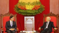 Tổng Bí thư Nguyễn Phú Trọng tiếp ông Park Won Soon, Đặc phái viên của Tổng thống Hàn Quốc. Ảnh: TTXVN