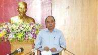 Thủ tướng Nguyễn Xuân Phúc phát biểu chỉ đạo tại cuộc làm việc với Công ty TNHH Formosa Hưng Nghiệp Hà Tĩnh (FHS). Ảnh: VGP