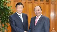 Thủ tướng Nguyễn Xuân Phúc tiếp đồng chí Lưu Vân Sơn, Ủy viên Thường vụ Bộ Chính trị, Bí thư Ban Bí thư Trung ương Đảng Cộng sản Trung Quốc. Ảnh: VGP