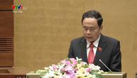 Chủ tịch Ủy ban Trung ương MTTQ Việt Nam Trần Thanh Mẫn trình bày Báo cáo tổng hợp ý kiến, kiến nghị của cử tri và nhân dân cả nước gửi tới Quốc hội sáng 23/10.