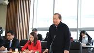 Phó Thủ tướng Trương Hòa Bình phát biểu tại buổi làm việc với lãnh đạo Khu Kinh tế tự do Hoàng Hải. - Ảnh: VGP