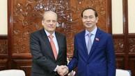 Chủ tịch nước Trần Đại Quang tiếp Ngài Carlos Irigaray, Đại sứ Đặc mệnh toàn quyền Cộng hoà Đông Uruguay tại Việt Nam đến chào từ biệt. Ảnh: TTXVN