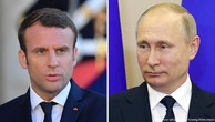 Tổng thống Pháp Emmanuel Macron và người đồng cấp Nga Vladimir Putin (Ảnh: DW)