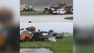 Máy bay F-16 phơi bụng sau khi bị rơi. (Ảnh: RT)