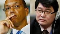 Phái viên Mỹ Robert Wood và phái viên Triều Tiên Ju Yong-chol. Ảnh:Reuters, AP.