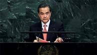 Ngoại trưởng Trung Quốc Vương Nghị phát biểu tại Liên Hợp Quốc ngày 21/9. Ảnh:AFP.