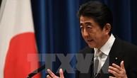 Chủ tịch LDP, Thủ tướng Nhật Bản Shinzo Abe phát biểu tại cuộc họp báo ở thủ đô Tokyo. (Nguồn: AFP/TTXVN)