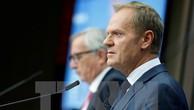 Chủ tịch EC Donald Tusk tại cuộc họp báo ở Brussels (Bỉ) ngày 19/10. (Nguồn: THX/TTXVN)