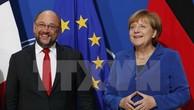 Thủ tướng Đức Angela Merkel (phải) và Chủ tịch đảng Dân chủ Xã hội Đức (SPD) Martin Schulz. (Nguồn: Getty images/TTXVN)