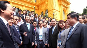 Chủ tịch nước Trần Đại Quang gặp gỡ 100 người Việt tài năng trong lĩnh vực khoa học công nghệ đang làm việc tại nước ngoài. Ảnh: Đức Trung