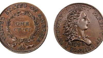 Mặt trước và sau của đồng xu Birch Cent 1792.