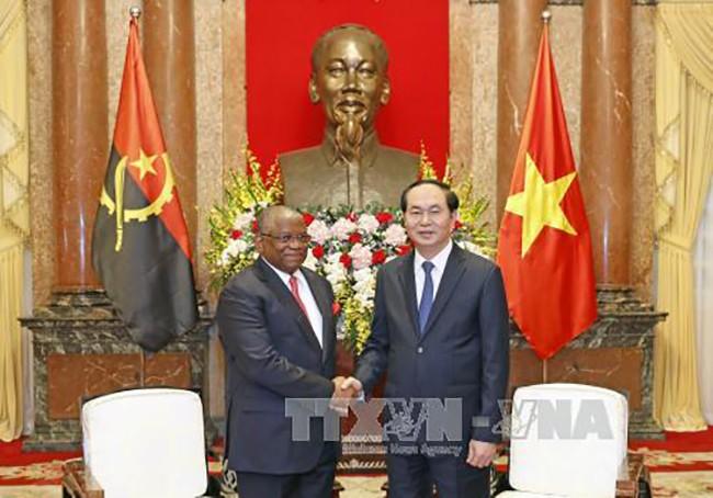 Chủ tịch nước Trần Đại Quang tiếp Bộ trưởng Ngoại giao Cộng hòa Angola, Georges Rebelo Pinto Chikoti. Ảnh: TTXVN
