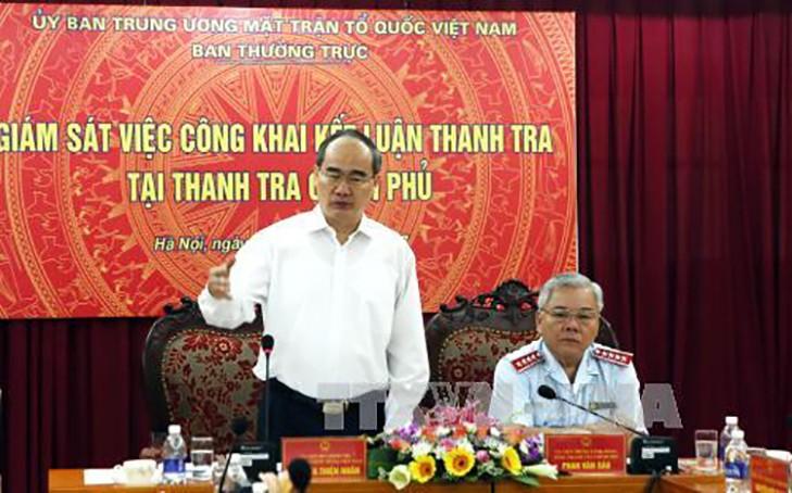 Uỷ viên Bộ Chính trị, Chủ tịch Uỷ ban Trung ương MTTQ Việt Nam Nguyễn Thiện Nhân phát biểu tại buổi làm việc. Ảnh: TTXVN
