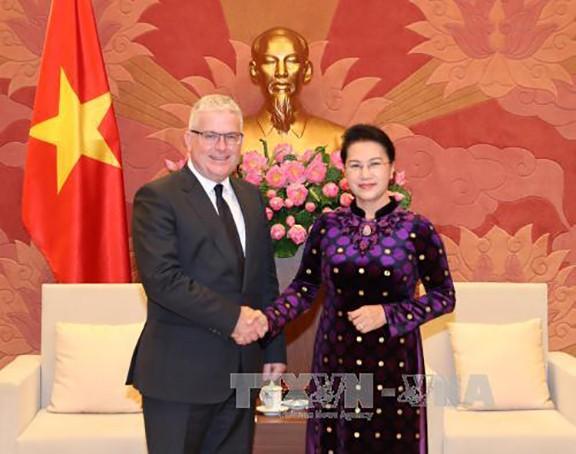 Chủ tịch Quốc hội Nguyễn Thị Kim Ngân tiếp Đại sứ Australia Craig Chittick tại Việt Nam đến chào xã giao. Ảnh: TTXVN