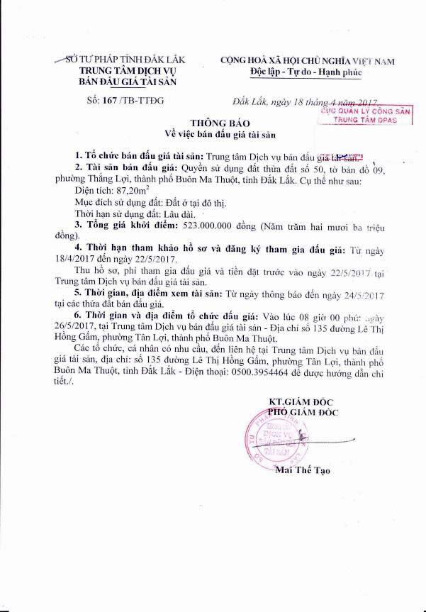 Đấu giá quyền sử dụng đất tại TP Buôn Ma Thuột, Đắk Lắk - ảnh 1