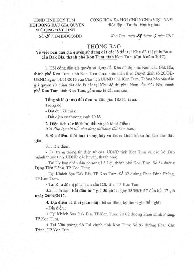 Đấu giá quyền sử dụng đất tại TP Kon Tum, Kon Tum - ảnh 1
