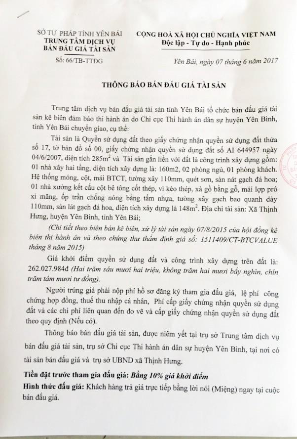 Đấu giá quyền sử dụng đất tại huyện Yên Bình, Yên Bái - ảnh 1