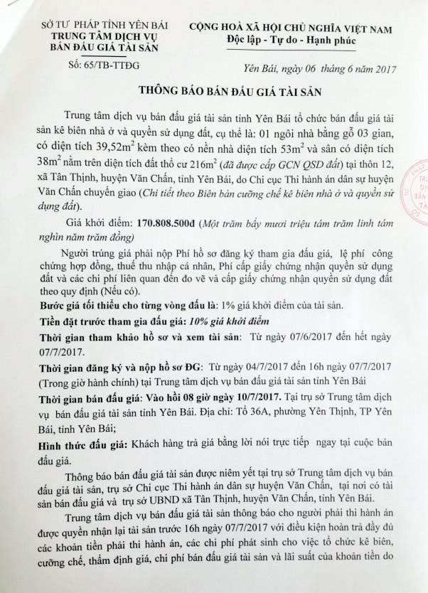 Đấu giá quyền sử dụng đất tại huyện Văn Chấn, Yên Bái - ảnh 1