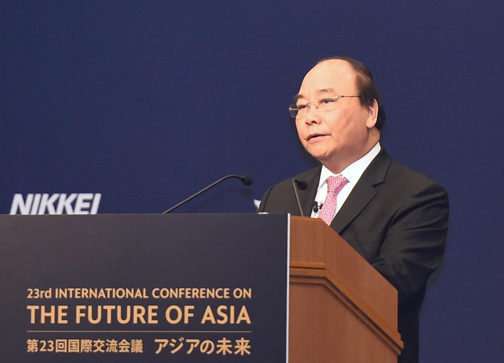 Thủ tướng Nguyễn Xuân Phúc phát biểu tại Hội nghị Tương lai châu Á lần thứ 23. Ảnh: VGP