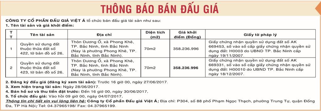 Đấu giá quyền sử dụng đất tại TP Bắc Ninh, Bắc Ninh - ảnh 1