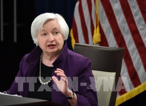 Chủ tịch FED Janet Yellen trong cuộc họp báo thông báo quyết định tăng lãi suất cơ bản, tại Washington, DC ngày 14/6. THX/ TTXVN