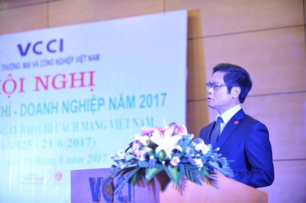 Chủ tịch Phòng Thương mại và Công nghiệp Việt Nam (VCCI) Vũ Tiến Lộc phát biểu tại Hội nghị. Ảnh: VGP