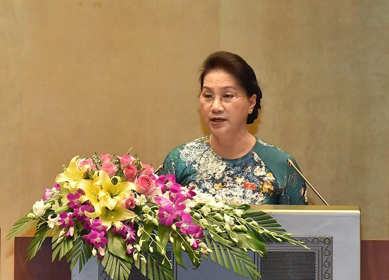 Chủ tịch Quốc hội Nguyễn Thị Kim Ngân phát biểu bế mạc Kỳ họp thứ 3, Quốc hội Khoá XIV. Ảnh: VGP