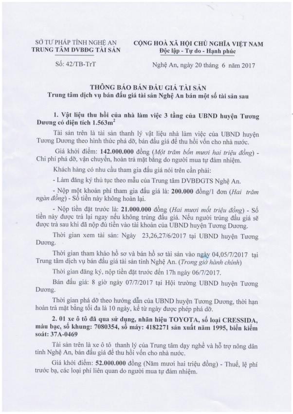 Đấu giá vật liệu thu hồi của UBND huyện Tương Dương, Nghệ An - ảnh 1