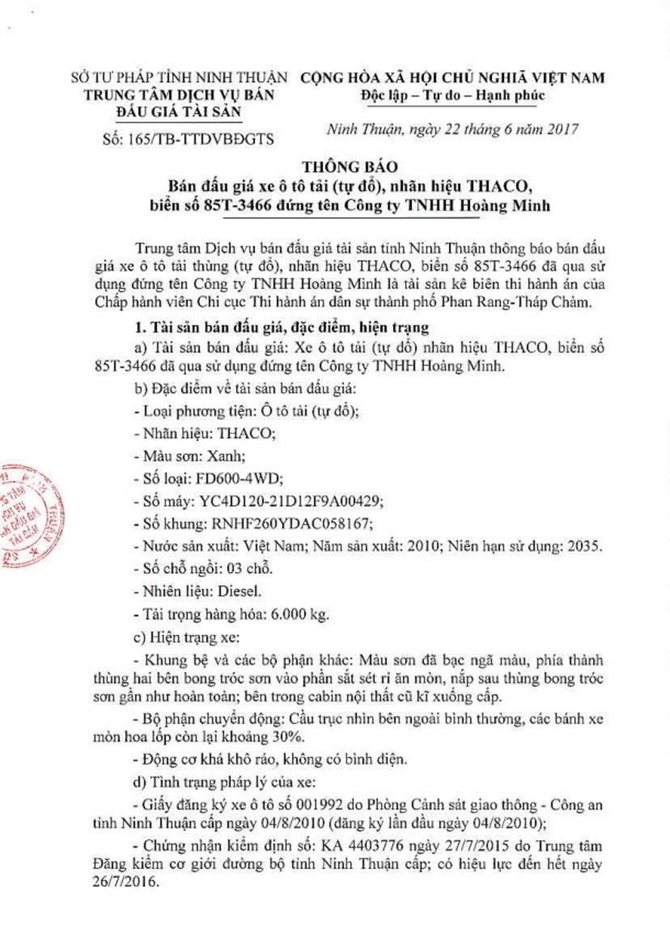 Đấu giá xe ô tô tải tại Ninh Thuận - ảnh 1