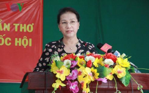 Chủ tịch Quốc hội Nguyễn Thị Kim Ngân phát biểu tại buổi tiếp xúc cử tri. Ảnh: VOV