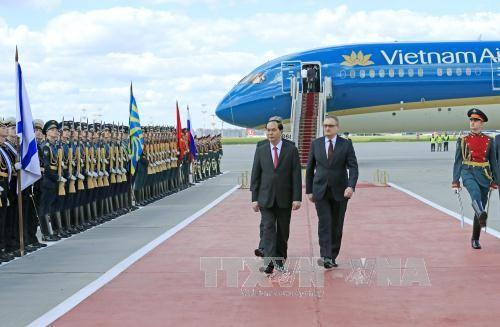 Lễ đón Chủ tịch nước tại Sân bay Vnucovo-2 - ảnh 1