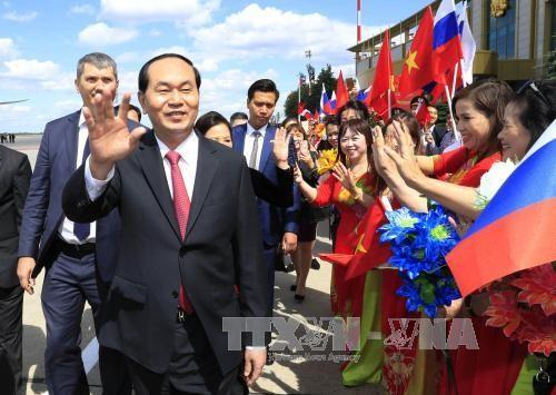 Lễ đón Chủ tịch nước tại Sân bay Vnucovo-2 - ảnh 4