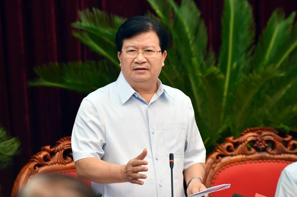 Phó Thủ tướng Trịnh Đình Dũng phát biểu chỉ đạo tại cuộc làm việc. Ảnh: VGP