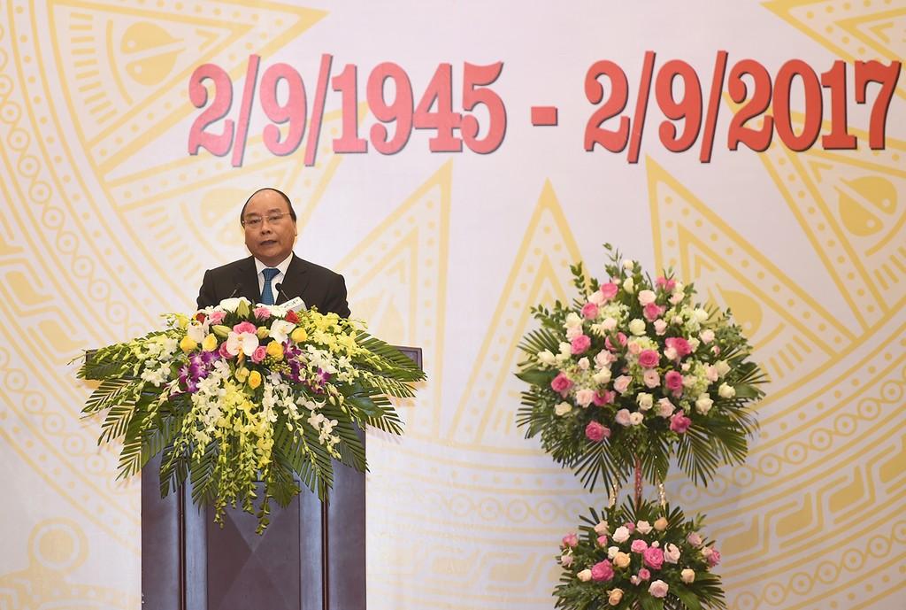 Thủ tướng Nguyễn Xuân Phúc phát biểu tại tiệc chiêu đãi. Ảnh VGP