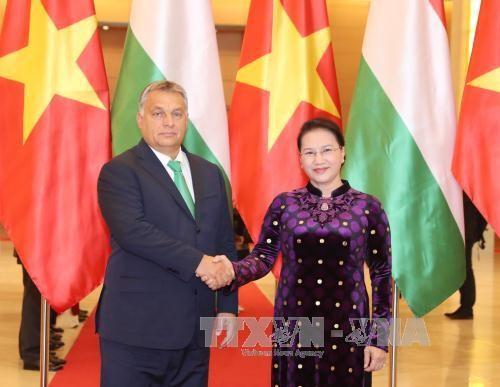 Chủ tịch Quốc hội Nguyễn Thị Kim Ngân tiếp Thủ tướng Hungary Orbán Viktor. Ảnh: TTXVN