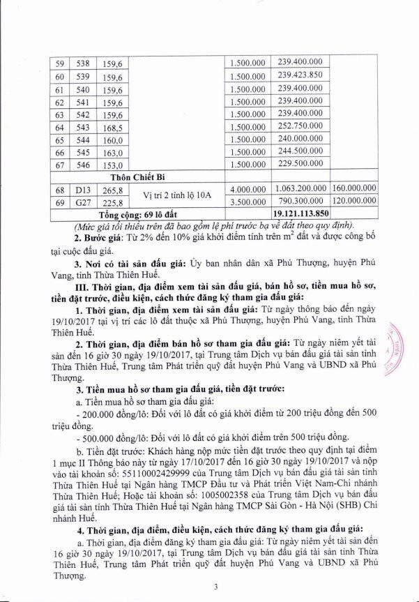 Đấu giá quyền sử dụng đất tại huyện Phú Vang, Thừa Thiên Huế - ảnh 3