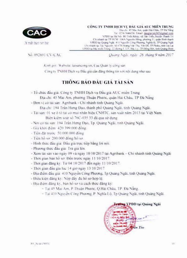 Đấu giá xe ô tô tải tại Quảng Ngãi - ảnh 1