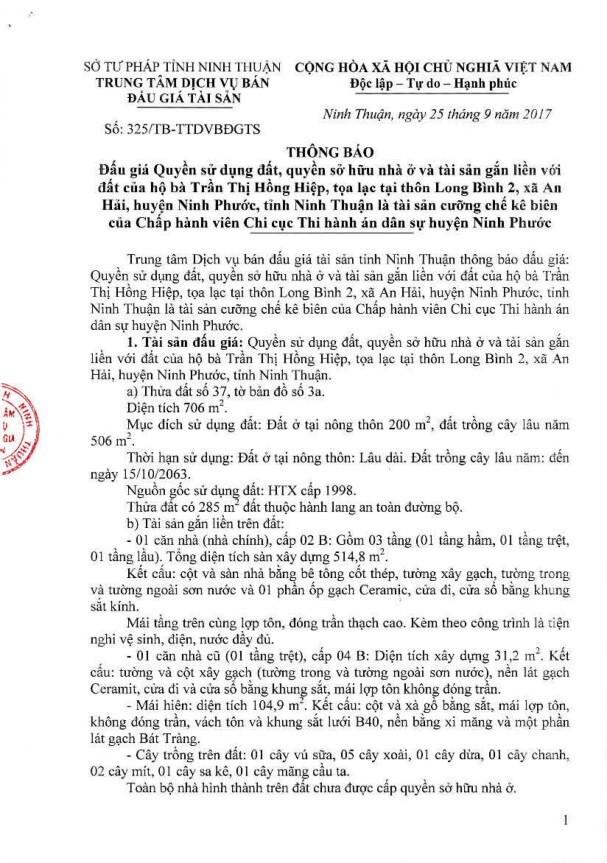 Đấu giá quyền sử dụng đất, quyền sở hữu nhà và TSGLVĐ tại huyện Ninh Phước, Ninh Thuận - ảnh 1